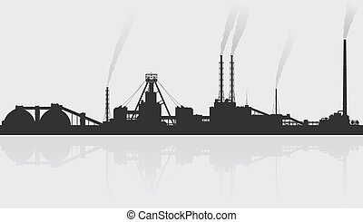 Mineral fertilizers plant over grey background