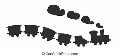 toys - simplified, abstract silhouette of a toy train