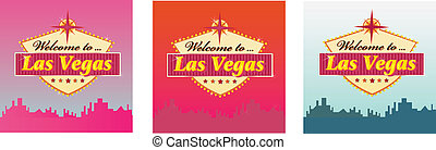 Welcome to Las Vegas - Las Vegas Welcome Sign in 3 color...
