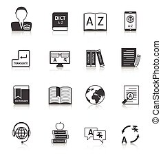 Translation and dictionary icons set - Official documents...
