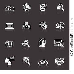 Database analytics icons black and white - Database...