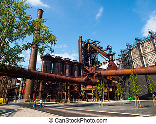 Blast furnace in metallurgical area of Dolni Vitkovice,...