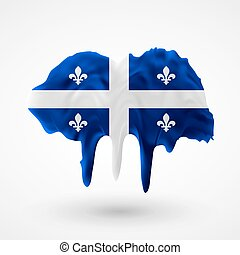 Quebec flag painted colors. Blot with paint streaks with the...