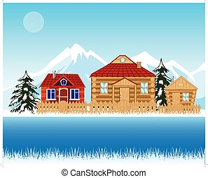 Village beside river in winter - Vector illustration...
