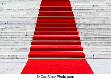 Red Carpet - Red carpet on staircase marking the route taken...