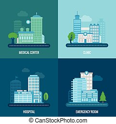 Medical building flat icons set with center clinic hospital...