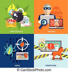 Hacker icons flat set - Hacker flat icons set with infected...