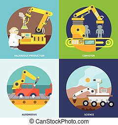 Robotic arm flat - Robotic arm flat icons set with hazardous...