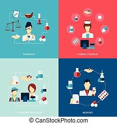 Pharmacist icon flat set - Pharmacist icons flat set with...