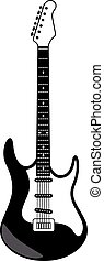 Electric guitar - Black and white stylized electric guitar