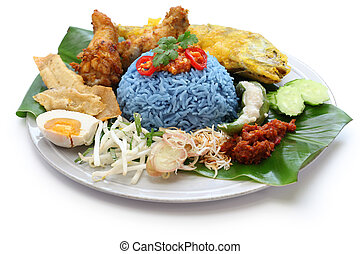 blue rice salad, malaysian cuisine - nasi kerabu, blue color...