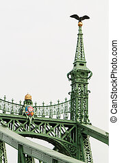 Historic bridge in Budapest - Old welded bridge colored with...