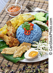 blue rice salad, malaysian cuisine - nasi kerabu, blue color...