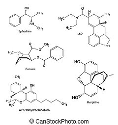 Chemical formulas of illicit drugs - Illustration of...
