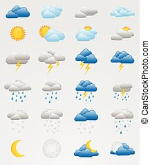 Set of colorful weather icons - Collection of 24 fully...