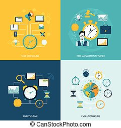 Time management flat icons set with task scheduling time...
