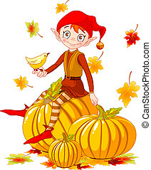 Pumpkin elf - Vector illustration of cute elf sitting on...