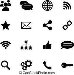 Set of flat icons - net and media