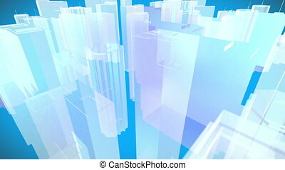 Flight through blue abstract city - High quality and...