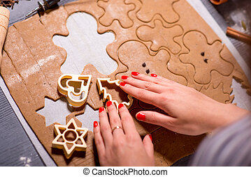 Making ginger cookies on Christmas - Making ginger cookie on...