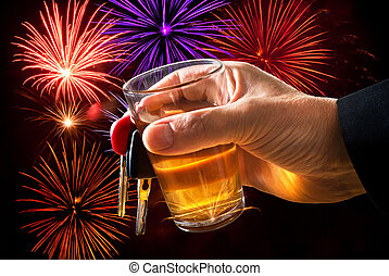 man holding car key and glass with firework