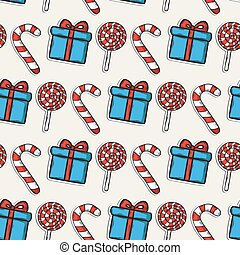 Vector Christmas pattern with candy and blie gifts on a...