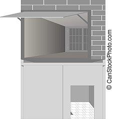 Garage with the doors open.