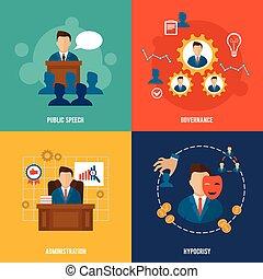 Executive icons flat - Executive flat icons set with public...