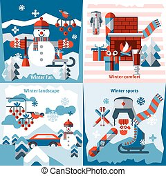 Winter flat icons set with sports comfort fun landscape...
