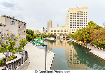 Indiana Central Canal, Indianapolis, Indiana, USA - Downtown...