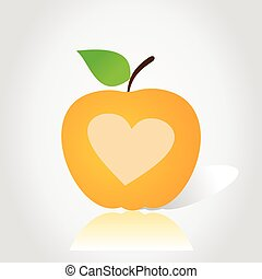 apple - yellow Apple with a heart on white background