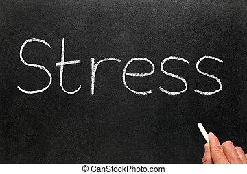 Stress written on a blackboard.