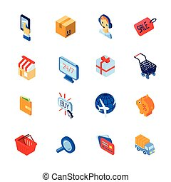 Shopping e-commerce icons set isometric - Online shopping...