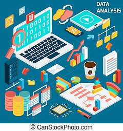 Data analysis isometric - Data analysis digital analytics...