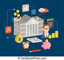 Tax icons isometric set with internal revenue service time...