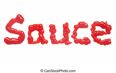 The word Sauce, written with tomato ketchup.