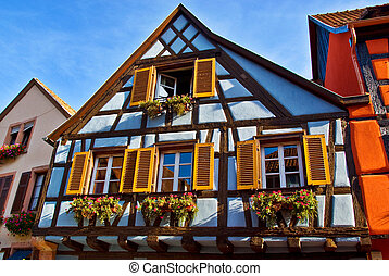 Half-Timbered Houses - Brightly Coloured Traditionnal...