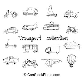 Transport doodle set with motorcycle car yacht truck...
