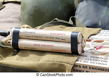 Dynamite - sticks of dynamite of the U.S Army during the...