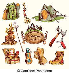 Camping sketch set colored - Camping sketch colored set with...