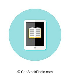Ebook Flat Circle Icon - Illustration of Ebook Flat Circle...