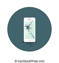 White Broken iphone Flat Circle Icon - Illustration of White...
