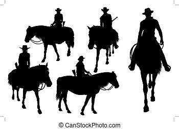 cowboy on horse - Vector silhouettes of Western cowboys,...