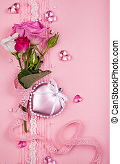Valentines day card with flowers and hearts on pink...