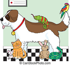 Pet Group - A group of pets standing together in a vet\'s...