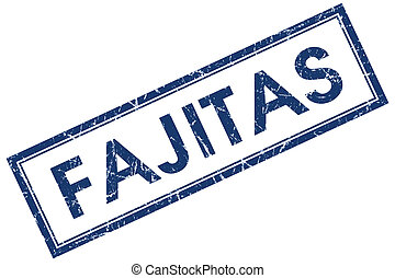 fajitas blue square stamp isolated on white background