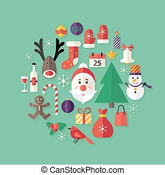 Christmas Flat Icons Set with Santa Claus over Green -...