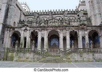 Cathedral. Porto, Portugal. Lateral facade decorated with...