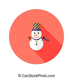 Christmas Snowman with Topper Hat Flat Icon - Illustration...