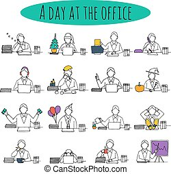 People at office desk working managers businessmen sketch...
